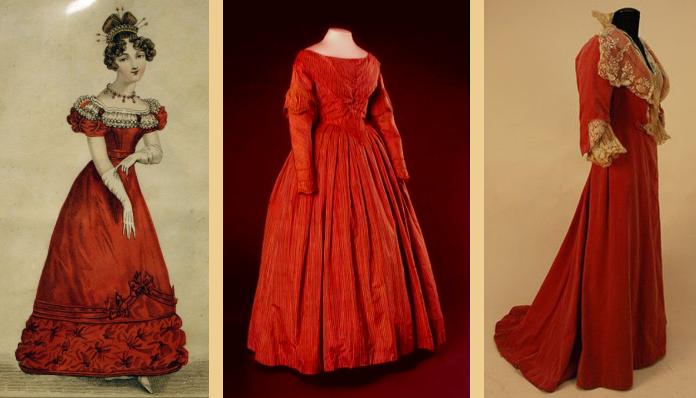 Red dresses; Regency, early Victorian, Edwardian