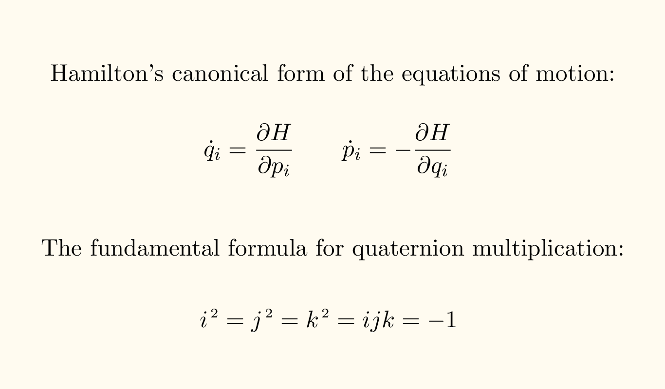 Hamilton's equatons
