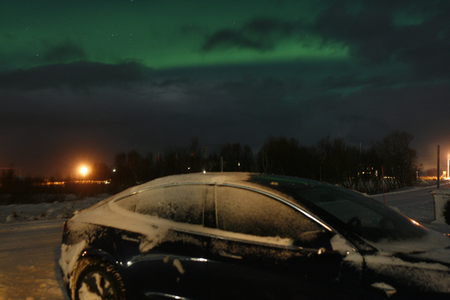 The Tesla and the northern lights, by Therese van Nieuwenhoven