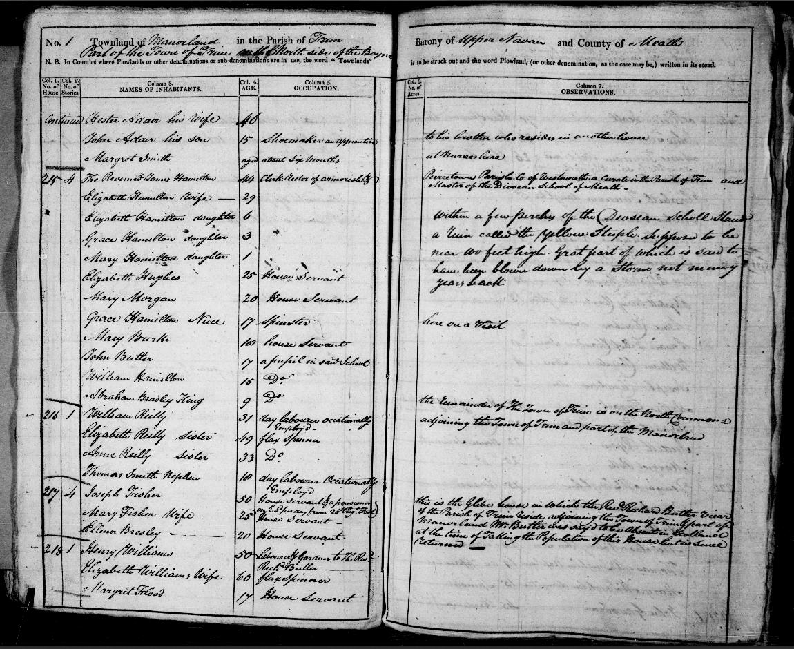 Irish census 1821 Trim Manorland Hamilton original form