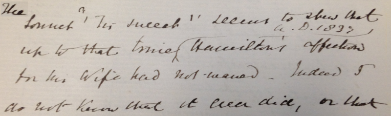 A part of the first page of an 1879 letter by Aubrey de Vere to Robert Graves