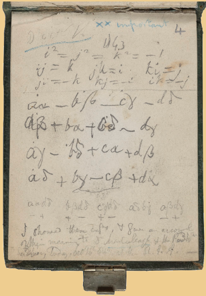 Pocket-book page with the first quaternion equations