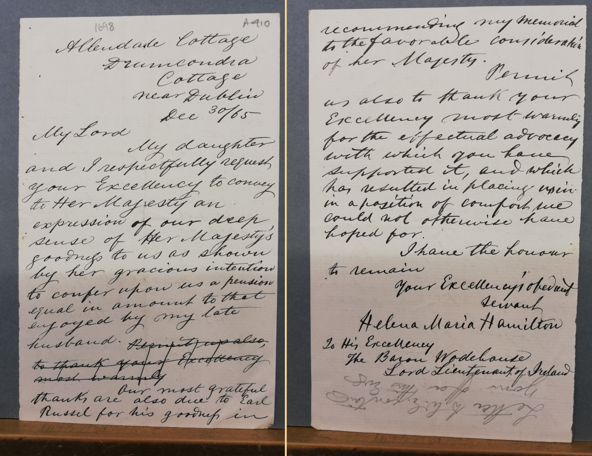 Draft of a letter from Allendale Cottage, written by William Edwin Hamilton